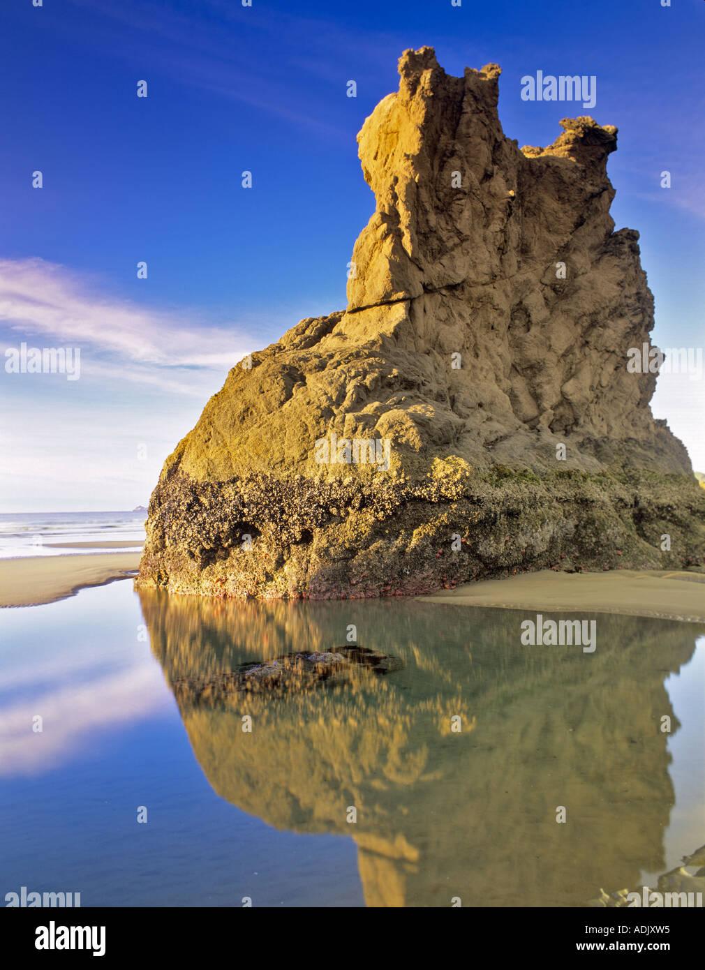 Low tide pools at Bandon Beach Oregon - Stock Image