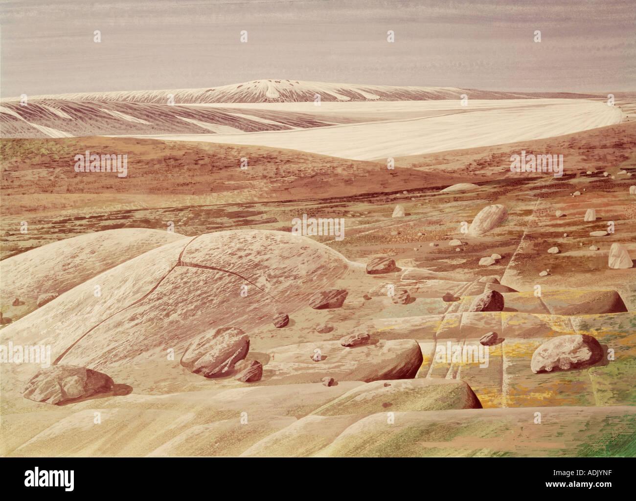 Pleistocene landscape - Stock Image