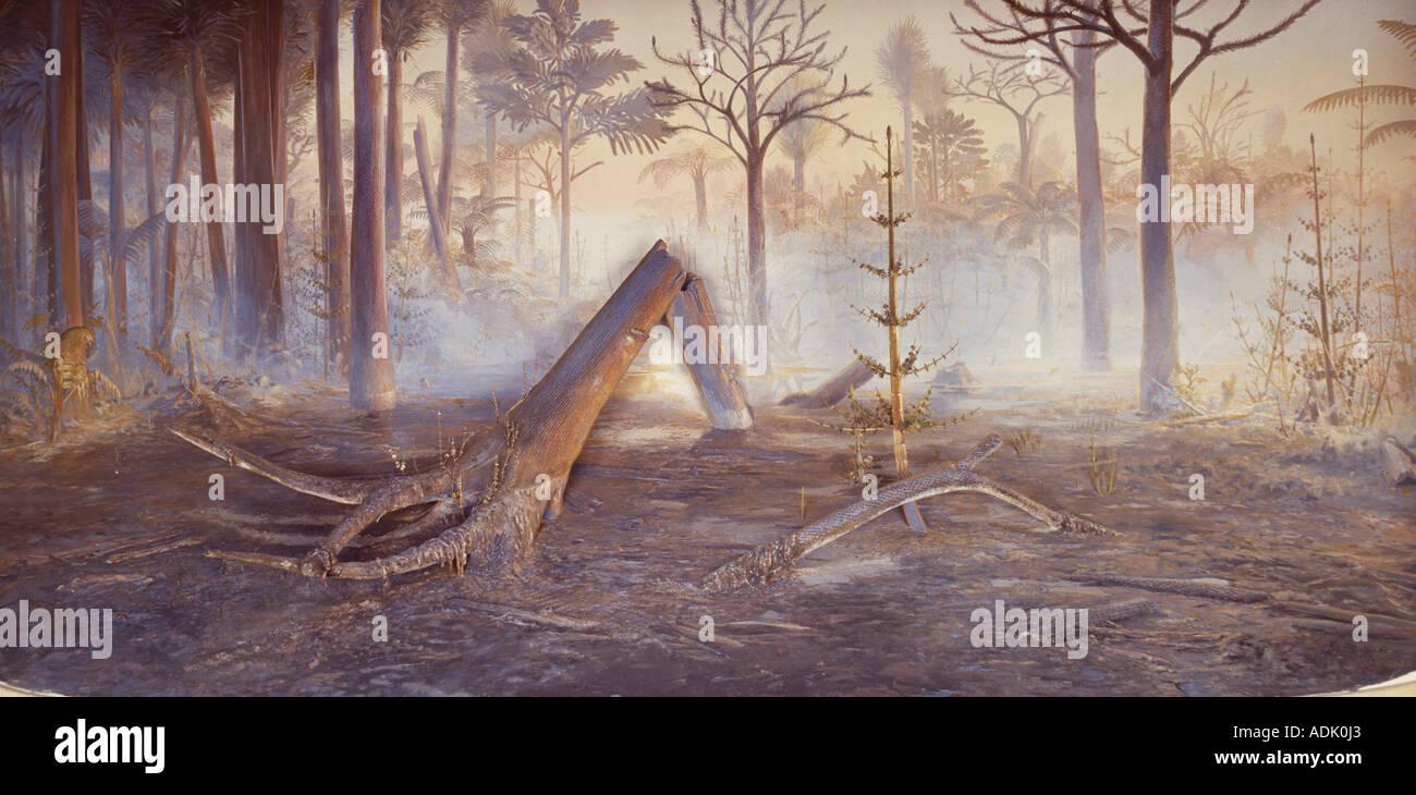 Pleistocene hunters wider view - Stock Image