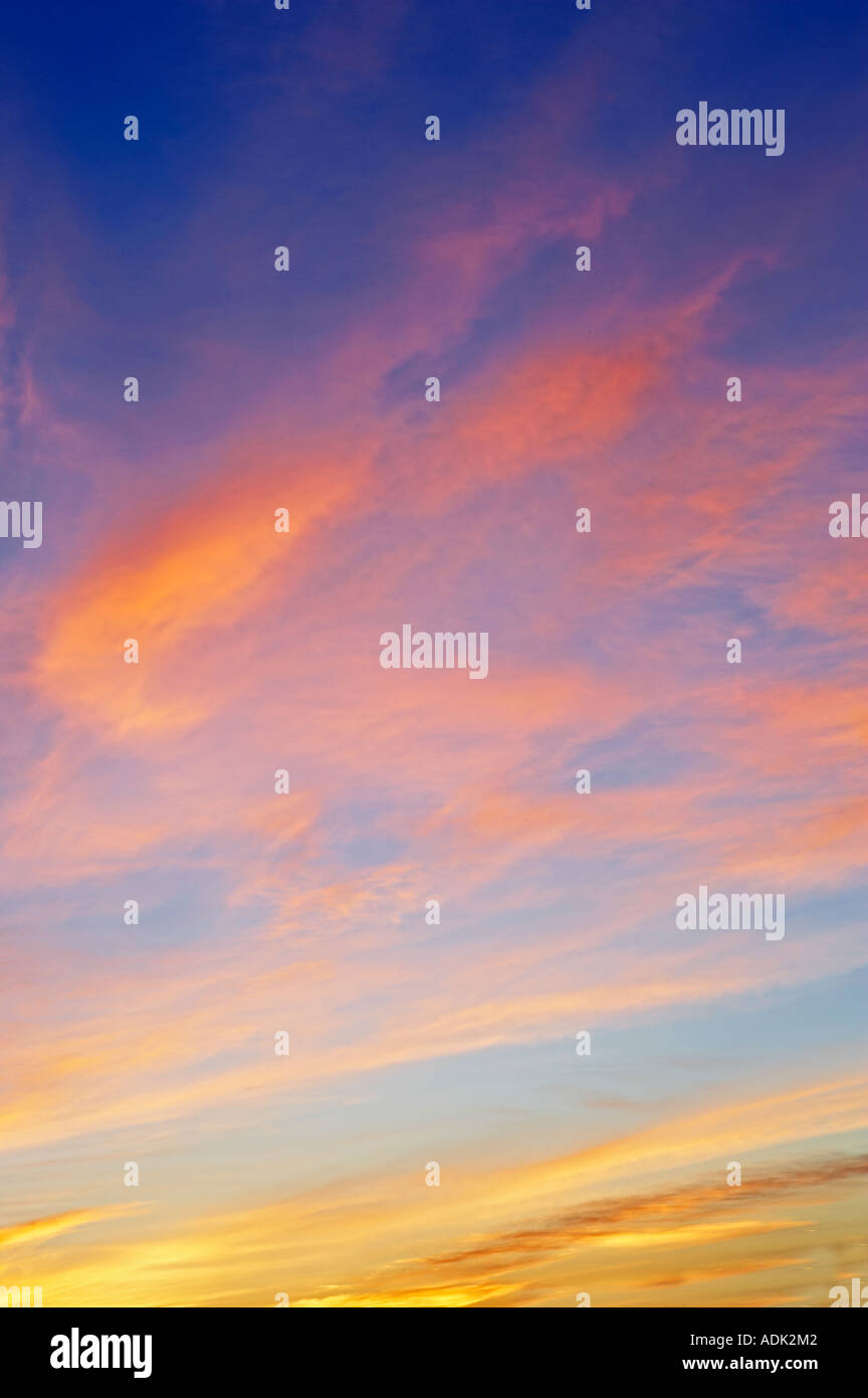 Sunrise clouds over Alpine Oregon - Stock Image