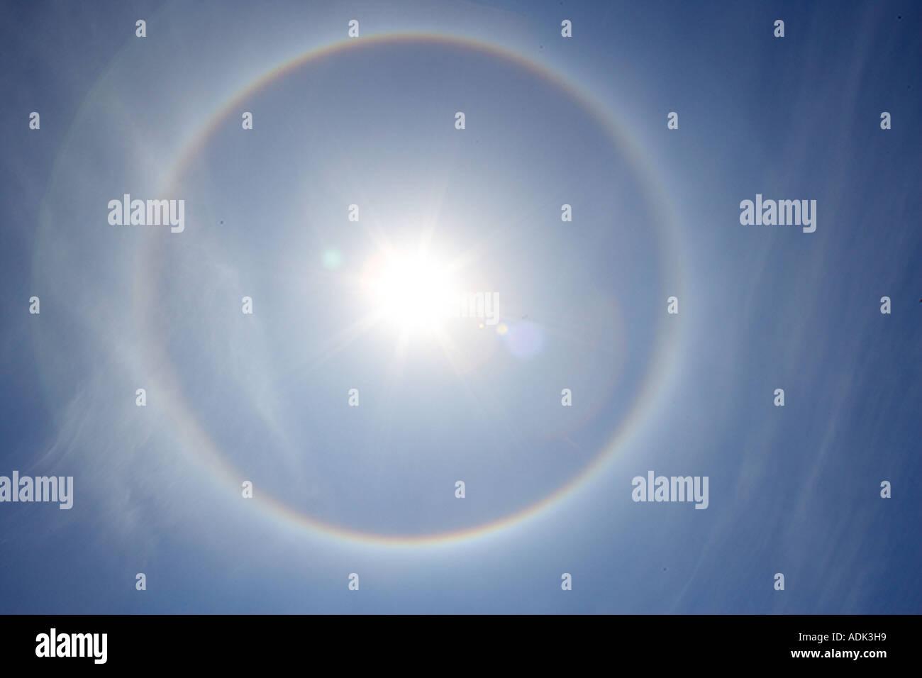 Rainbow halo around sun preceding a storm Wilsonville OR - Stock Image