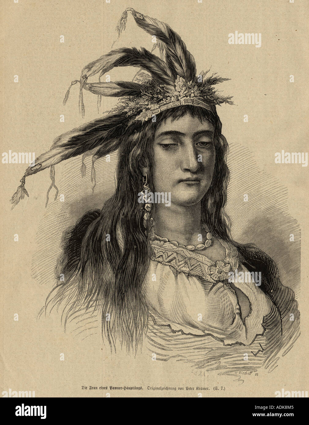 The woman of a Pawnee chieftain, engraving. - Stock Image