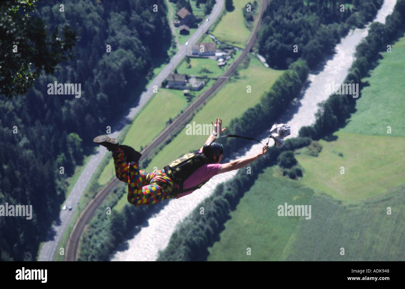 PICTURE CREDIT DOUG BLANE BASE Jumping from Magland France - Stock Image