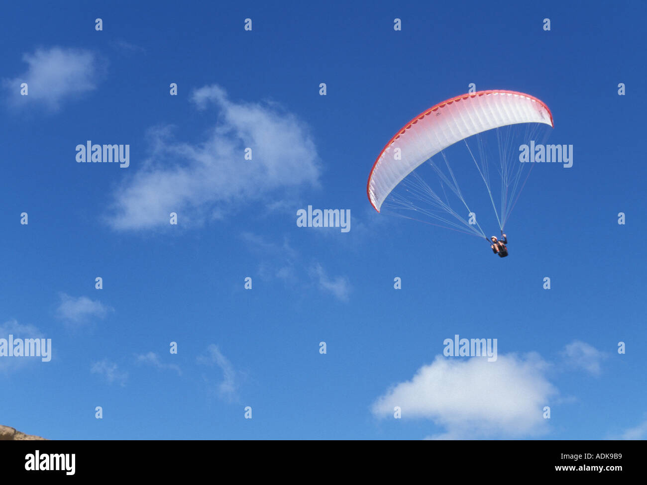 Sports Pastimes Paragliding at the cliff at Barton on Sea Hampshire - Stock Image