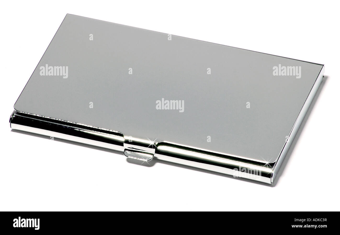 A chrome / silver business card holder. - Stock Image