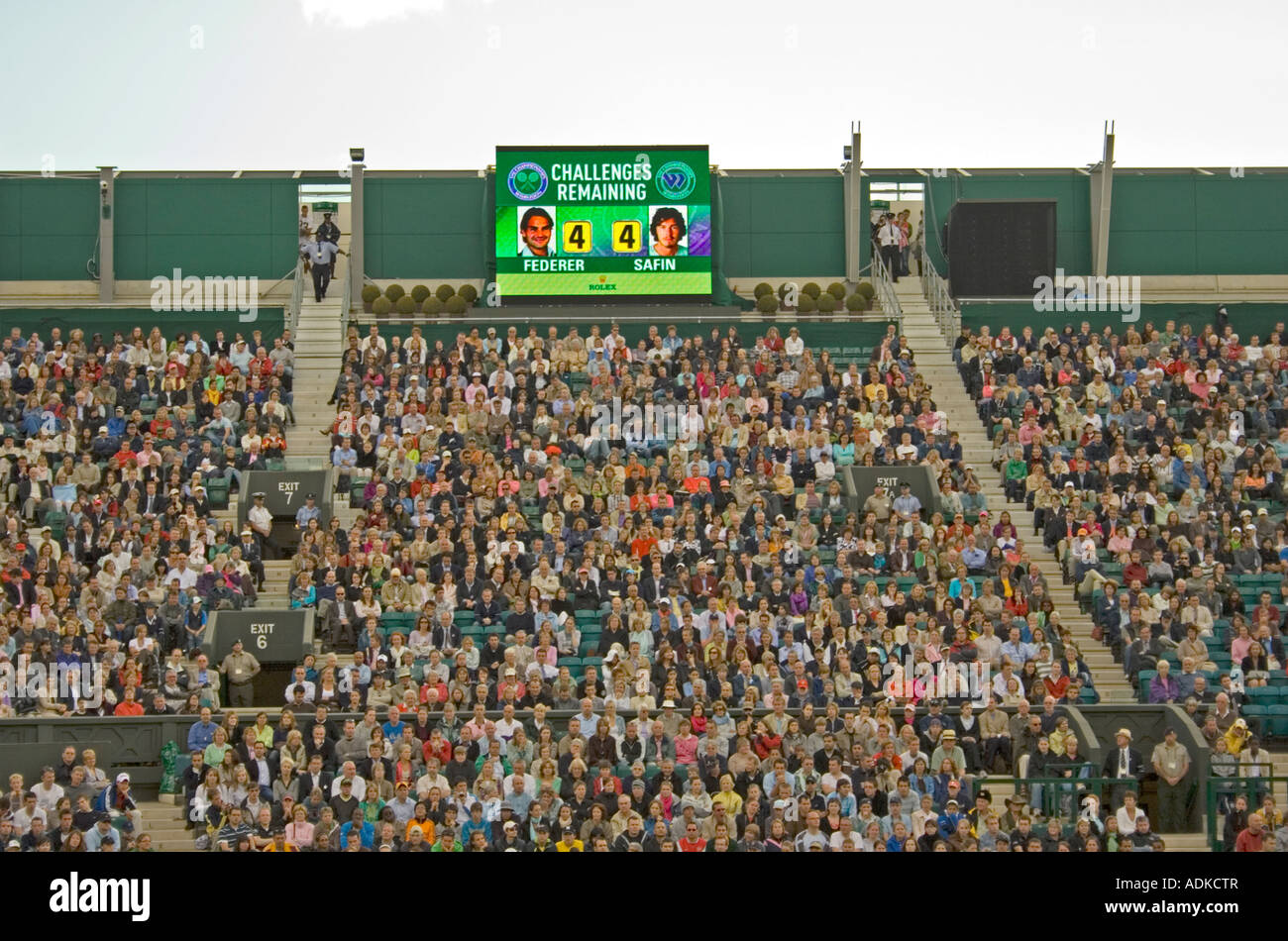 Crowd at Centre Court Wimbledon Lawn Tennis Club, London, UK - Stock Image