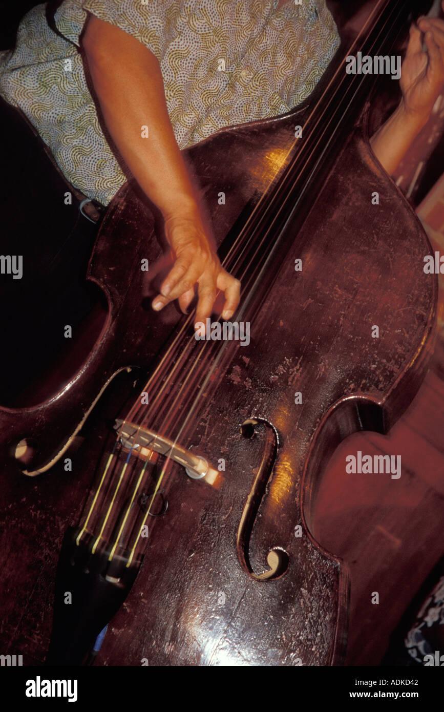 Man Playing Upright Bass - Stock Image