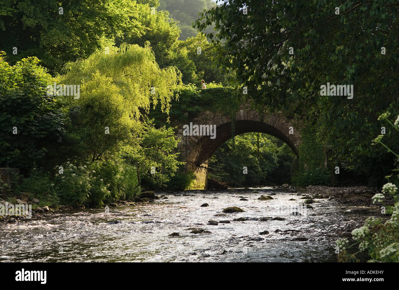 The Avonbeg River joins the Avonmore River to become the Avoca River at 'The Meeting of the Waters' Co. - Stock Image