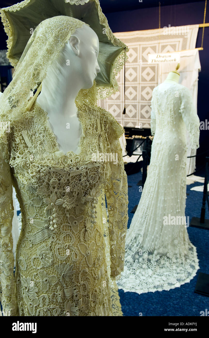 Irish Crochet Lace work bridal gowns 1850-1900 in Sheelin Antique Irish Lace Museum in village of Bellanaleck, County - Stock Image