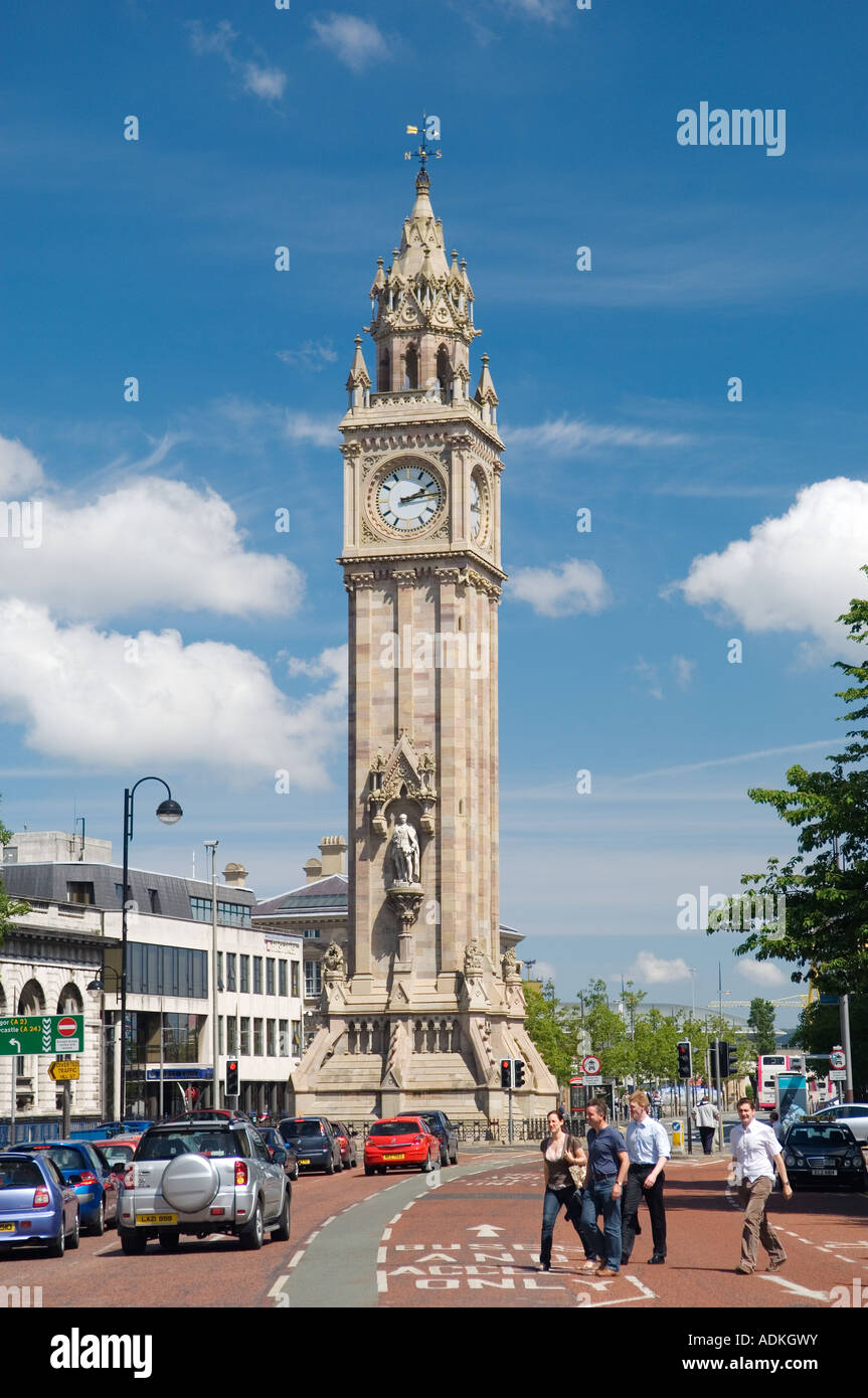 The Albert Memorial Clock in Queens Square, Belfast city centre, Northern Ireland, completed to the design of W - Stock Image