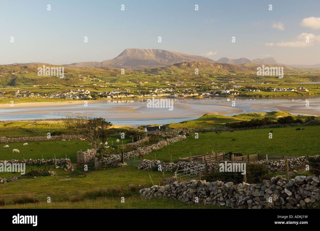 South over the village of Dunfanaghy from near Horn Head toward Muckish Mountain on north Donegal coast, Ireland. - Stock Image