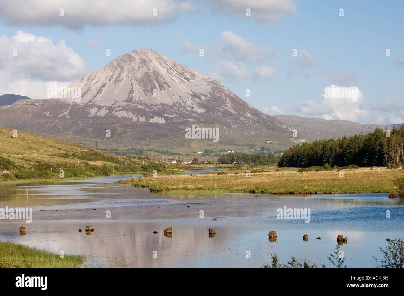 From Gweedore to white quartzite scree slopes of Errigal, County Donegal, Ireland. Lough Nacung and River Clady - Stock Image