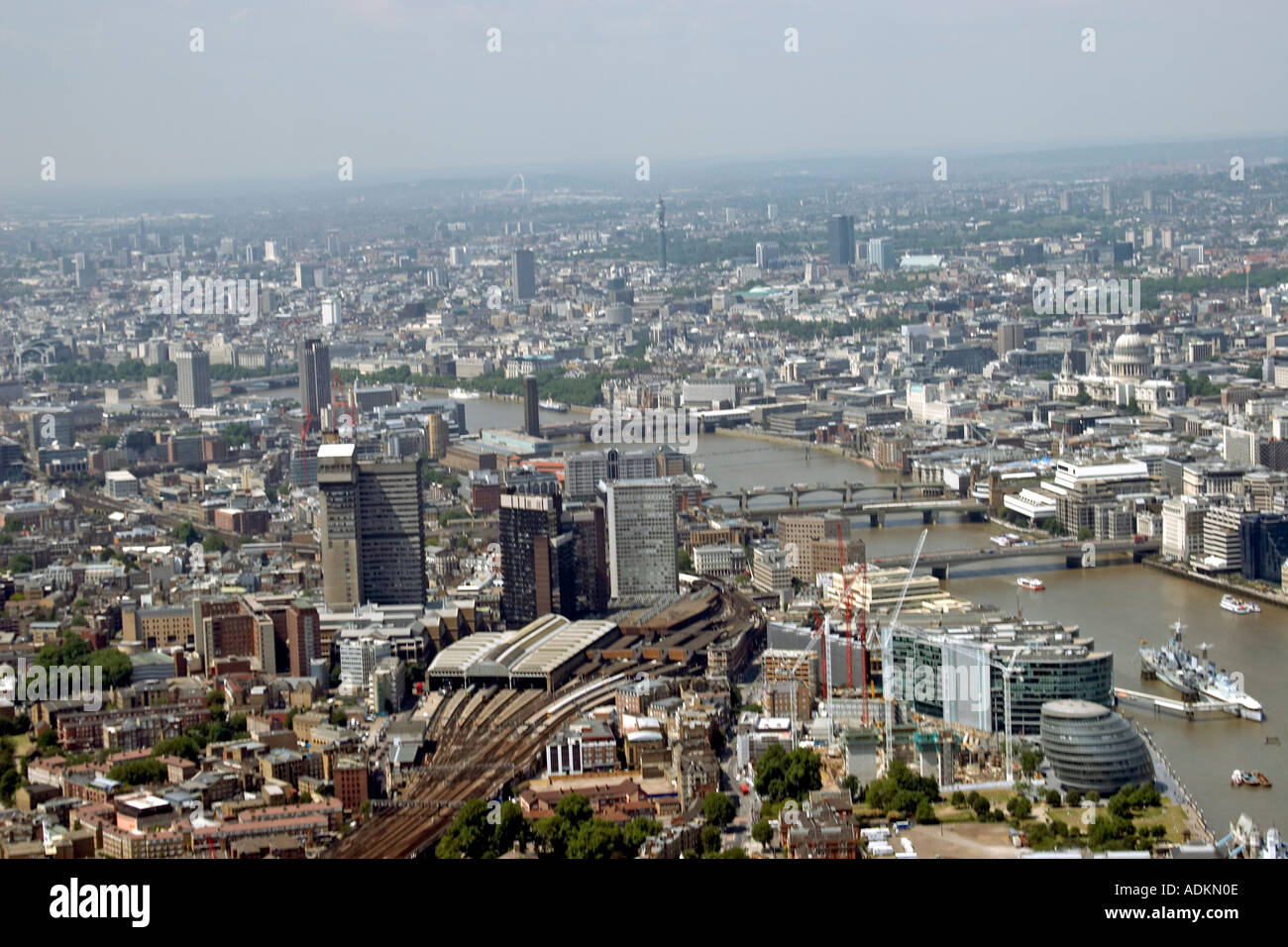 Oblique high level aerial view north west of London Bridge Station Guy s Hospital and River Thames London SE1 EC3 Stock Photo