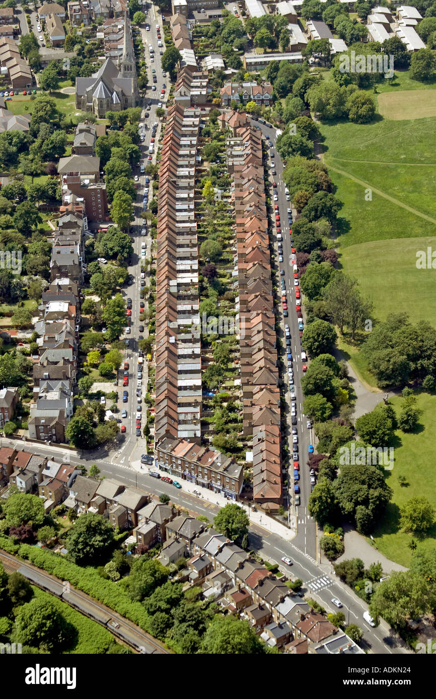Oblique high level aerial view south west of line of rooftops of Trinity Rise London SE24 England 2005 - Stock Image