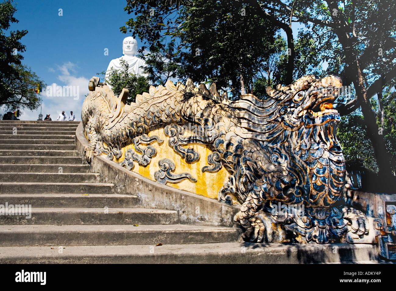 "Dragon stairway leading up to the large white statue of the seated [Sakyamuni Buddha], ""Long Son Pagoda"", ""NhaTrang"", Stock Photo"