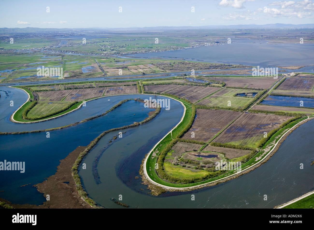 aerial view above Sacramento San Joaquin river delta, northern California - Stock Image