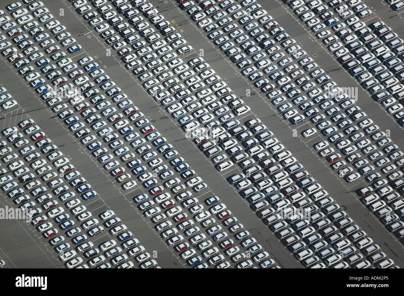 aerial view above imported cars Port of Richmond, CA San Francisco Bay Contra Costa county - Stock Image