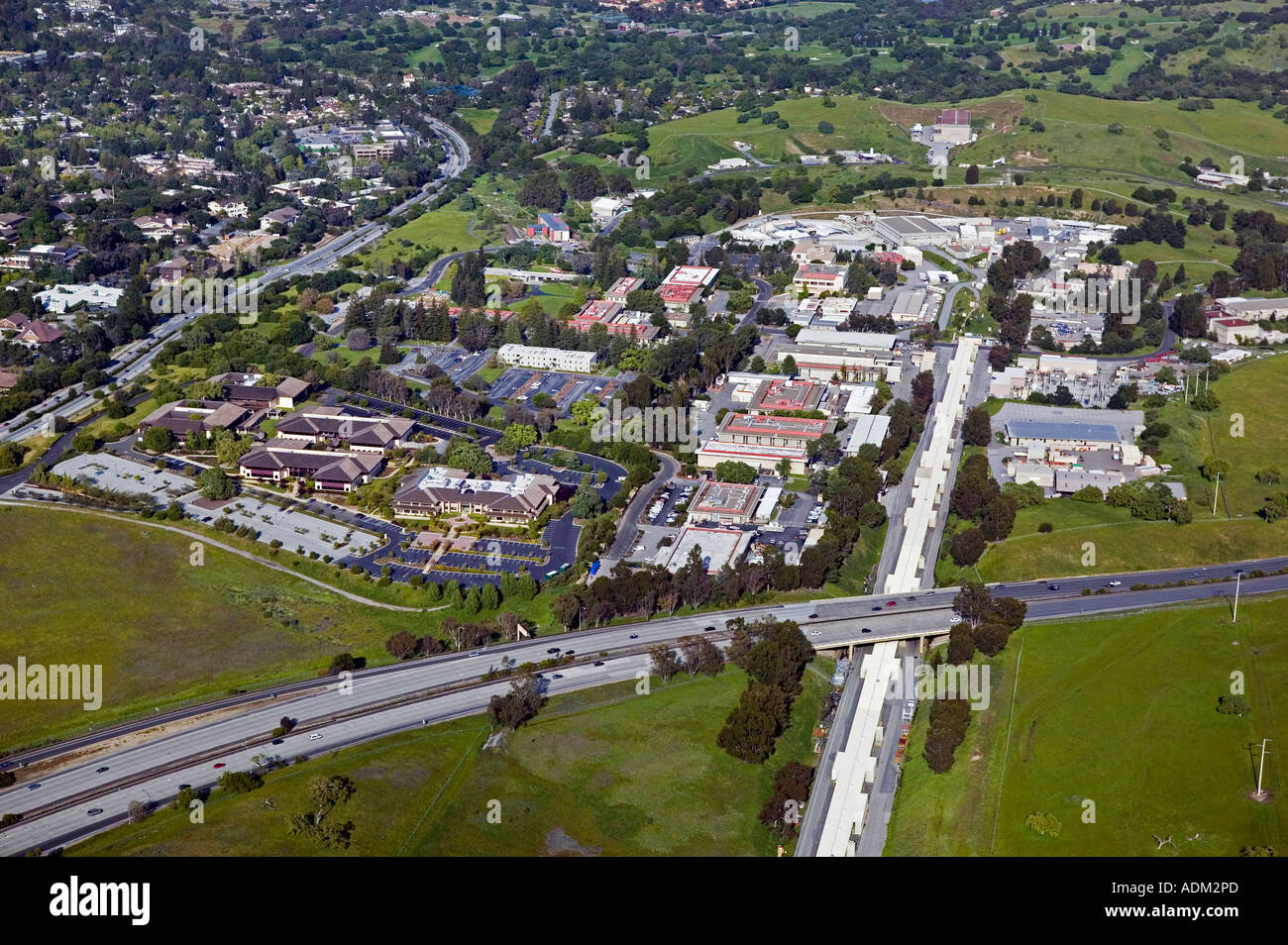 aerial view above Stanford University Linear accelerator and Sand Hill Road Menlo Park California - Stock Image