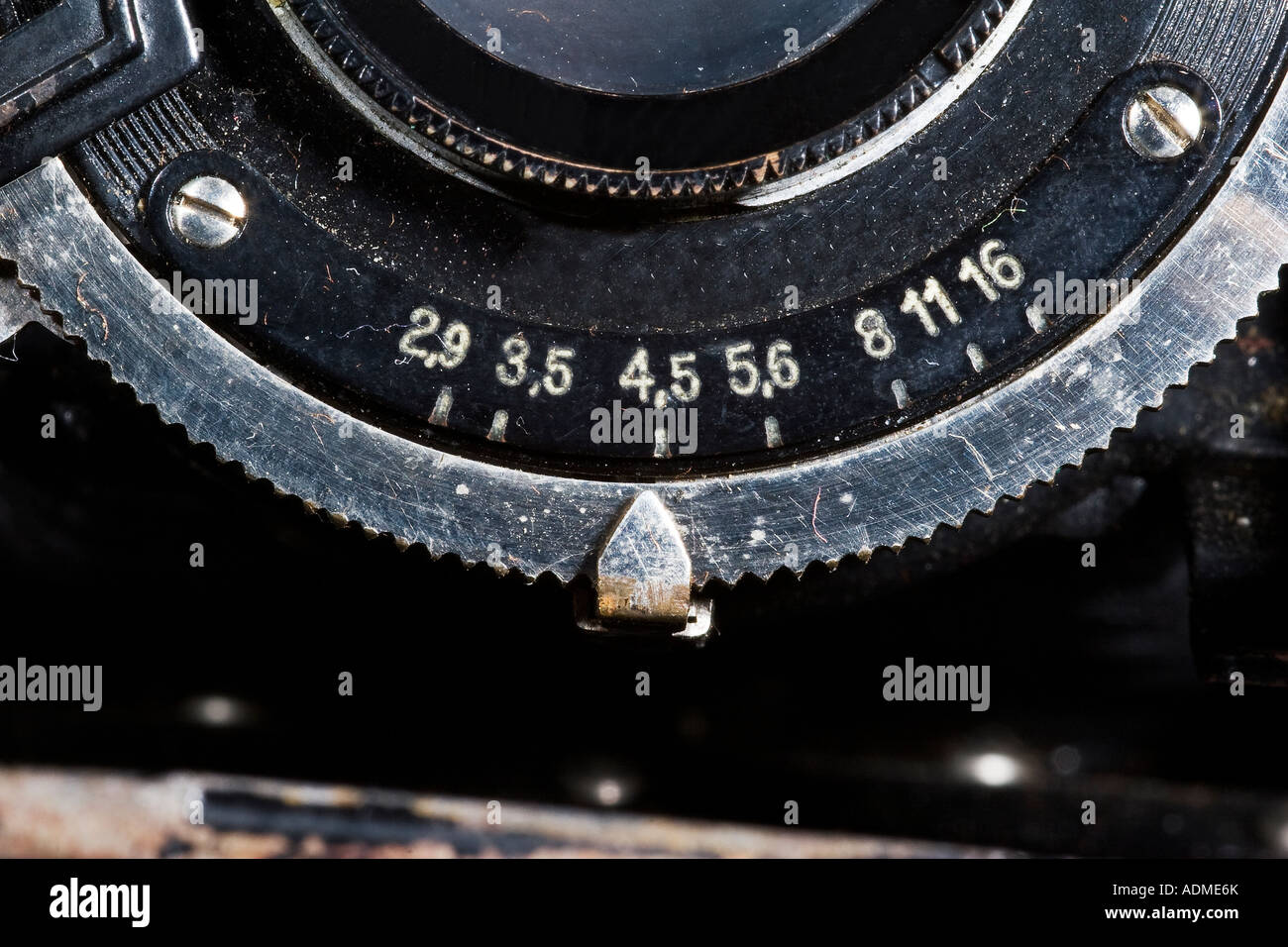 Aperture adjustment at an old Camera with bellow - Stock Image