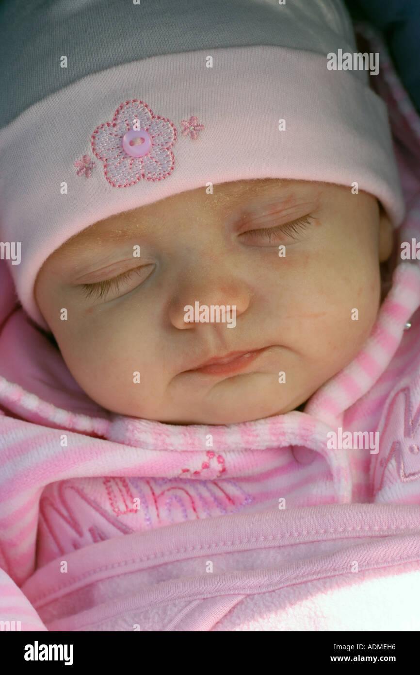 Ten week old baby girl, Lucy. Glasgow, Scotland, United Kingdom. - Stock Image