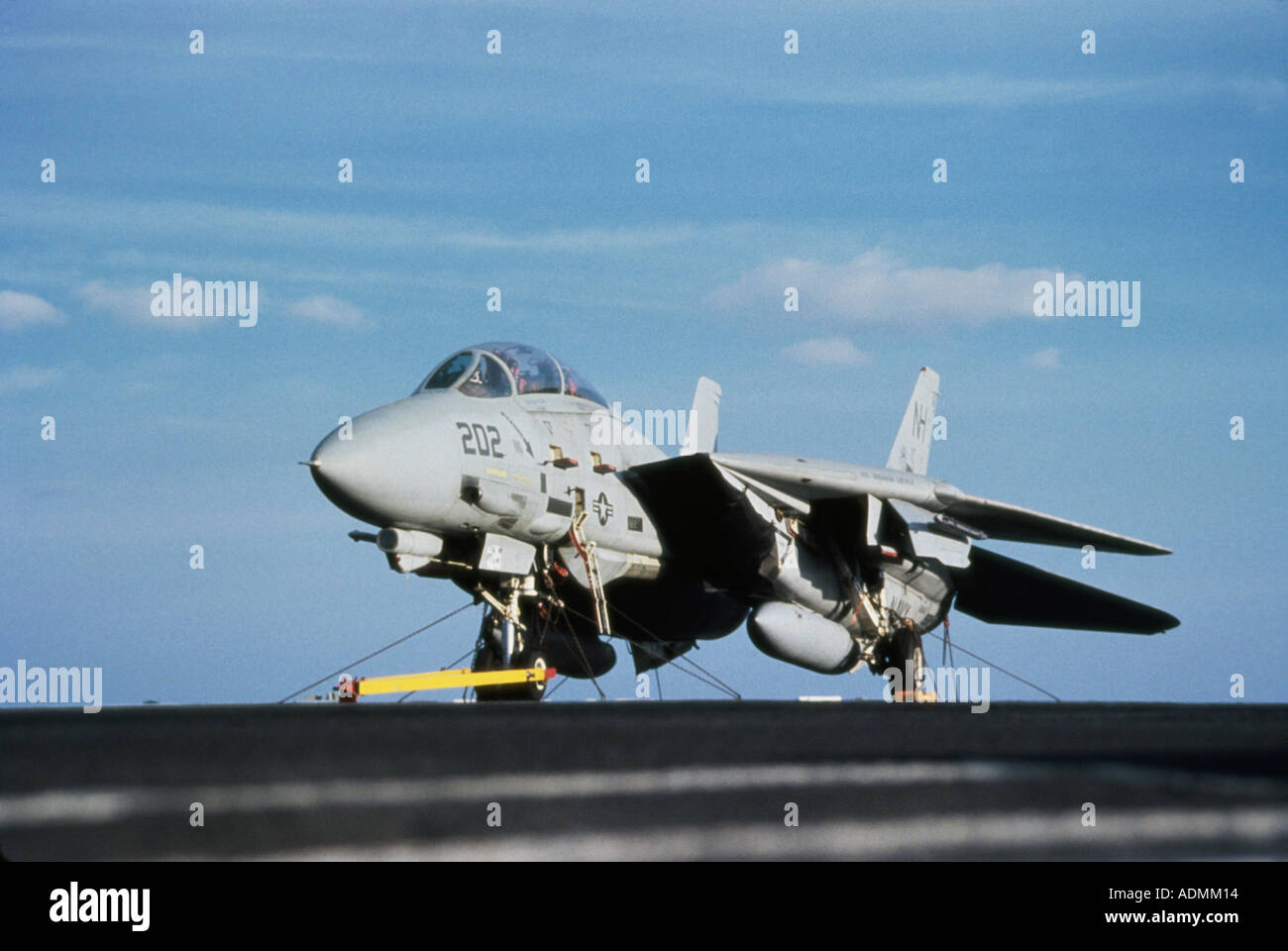 F-14A Tomcat aboard the flight deck of the USS Abraham Lincoln - Stock Image