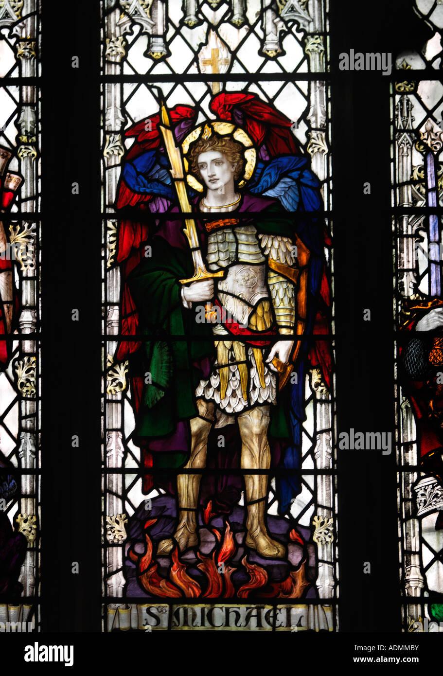 Salisbury Wiltshire England Church of St Thomas Becket  Saint  Michael Archangel  Patron Saint of Chivalry - Stock Image