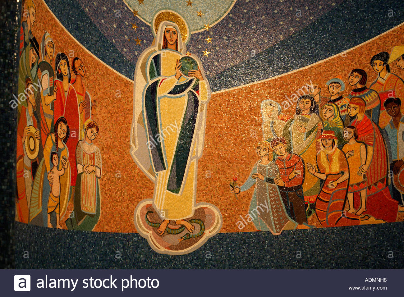 Mosaic of Mary, Queen of Missions, in the National Shrine of the Immaculate Conception in Washington DC Stock Photo