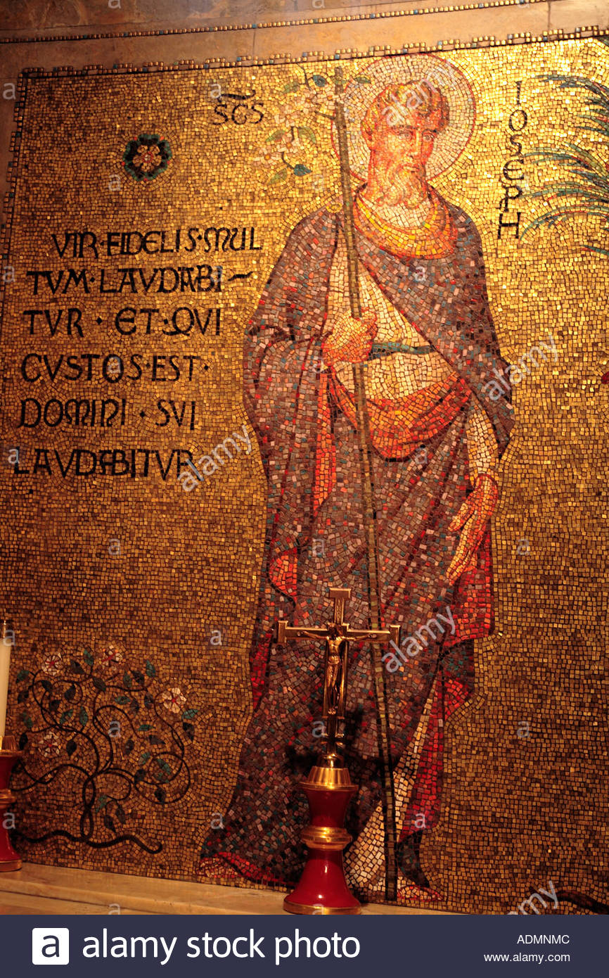 Mosaic of Saint Joseph in the National Shrine of the Immaculate Conception in Washington DC Stock Photo