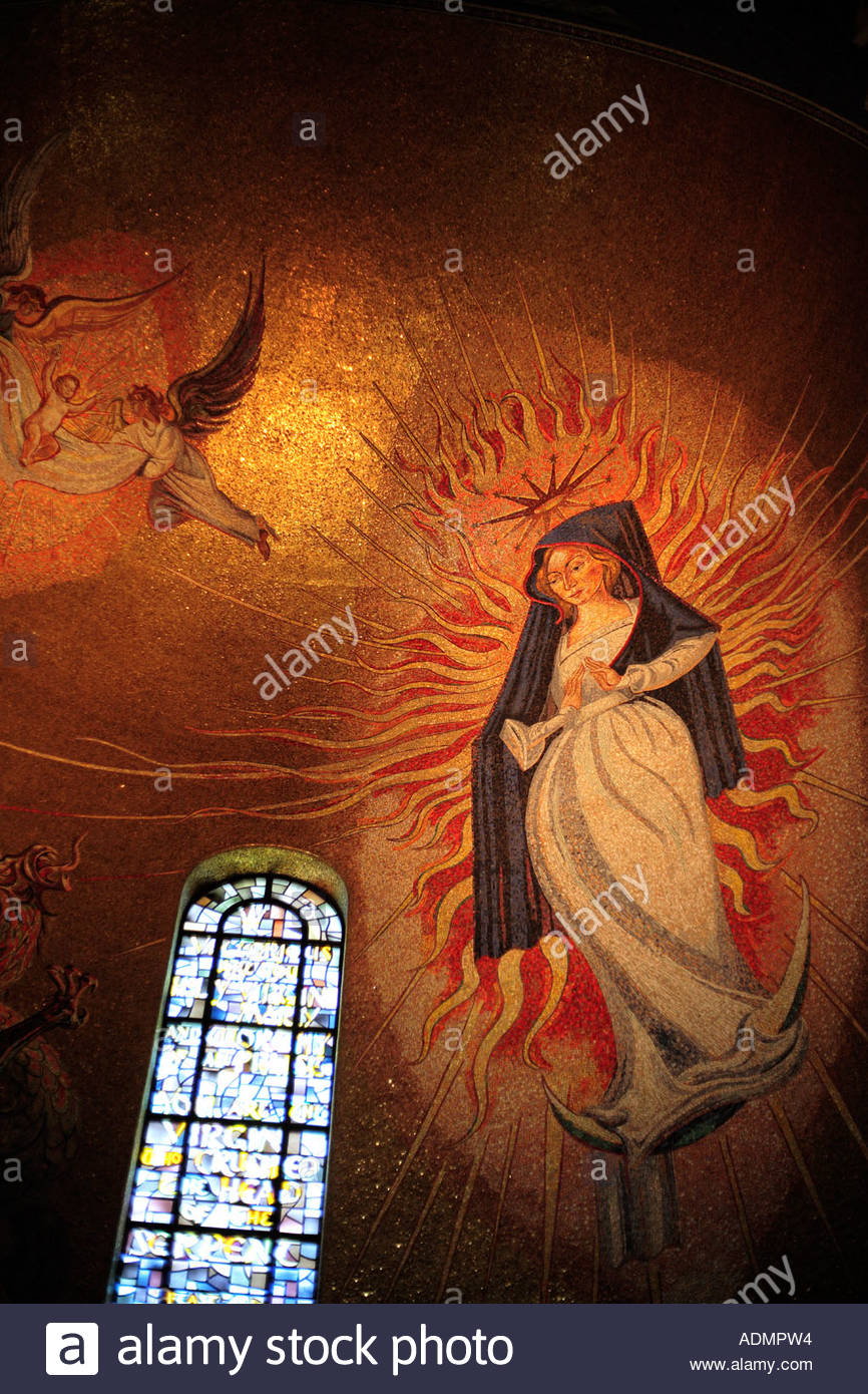 Mosaic of Mary in the National Shrine of the Immaculate Conception in Washington DC Stock Photo