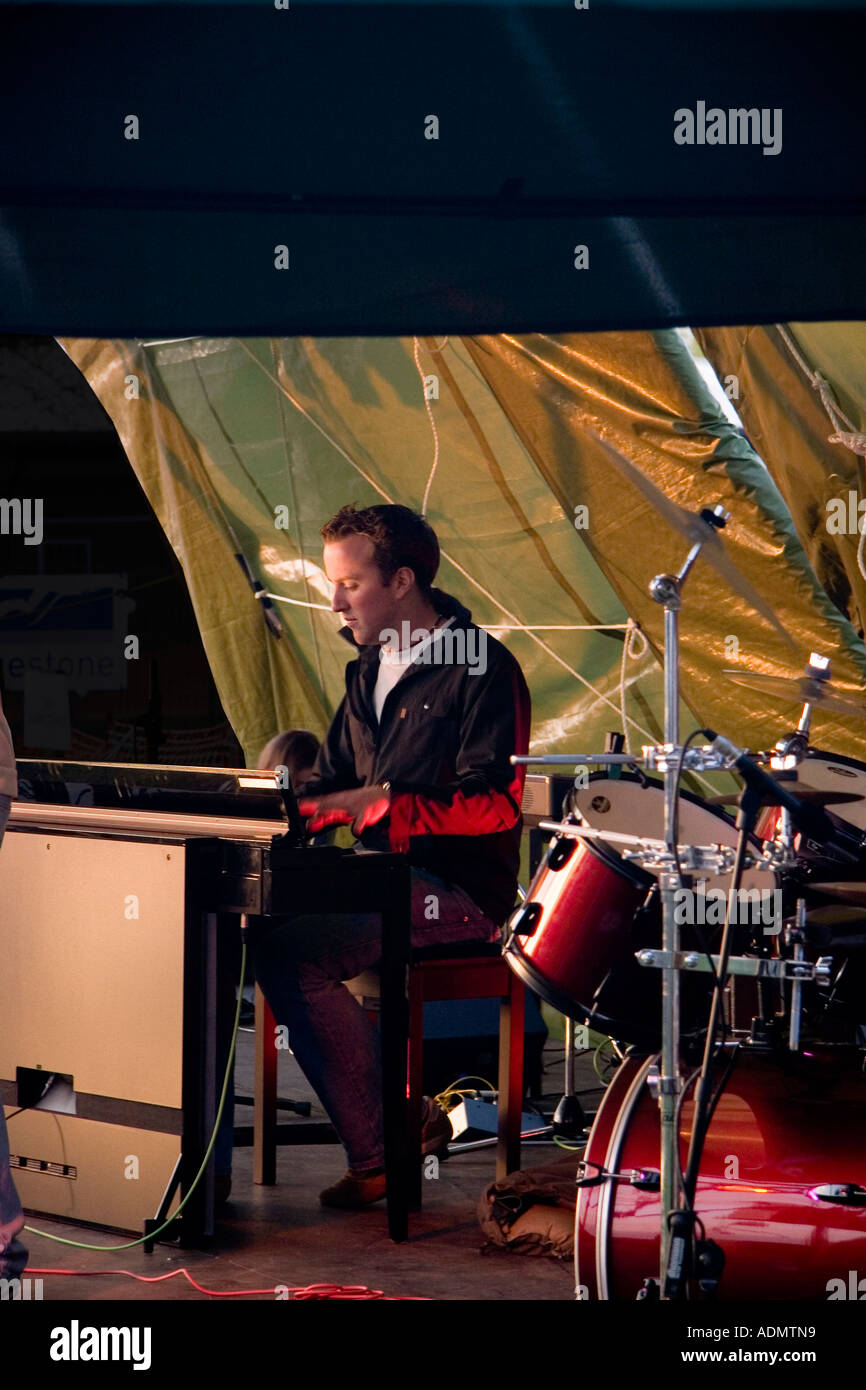 Richard Grace from the band Darwyn playing live at a music festival in Bishops Stortford, Hertfordshire, England - Stock Image