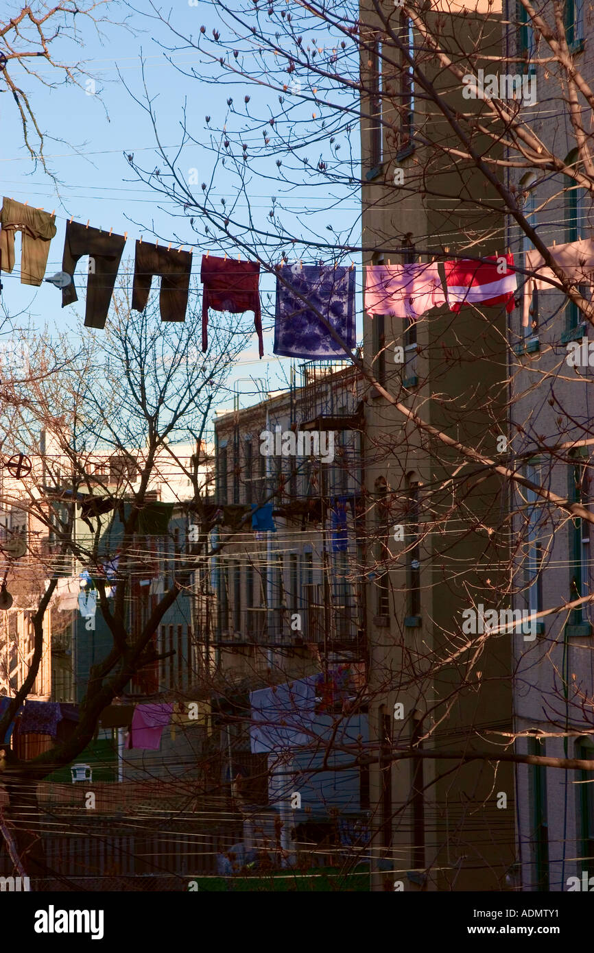 Clothes drying on clothesline Greenpoint Brooklyn New York USA - Stock Image
