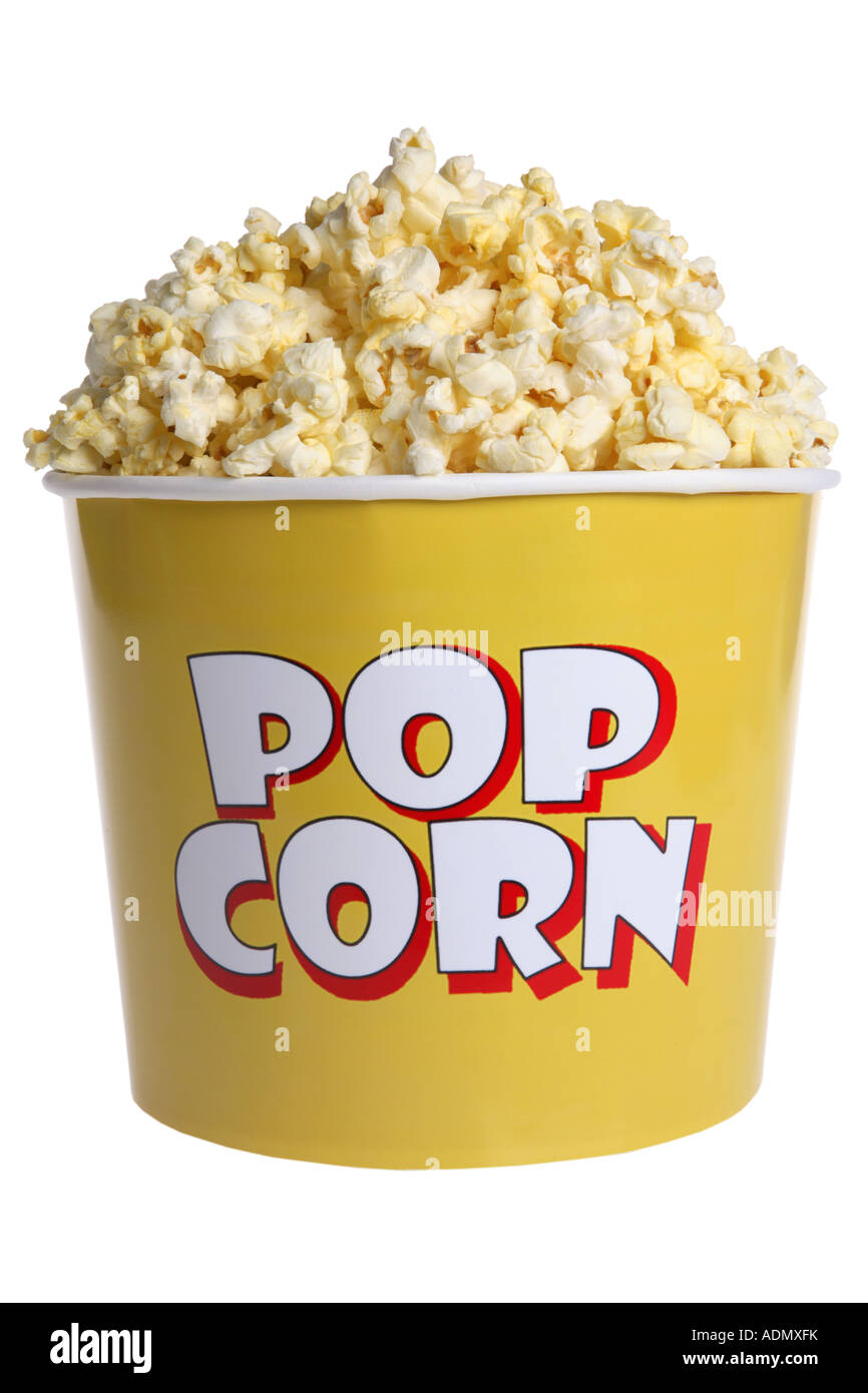 Tub of popcorn cut out on white background - Stock Image