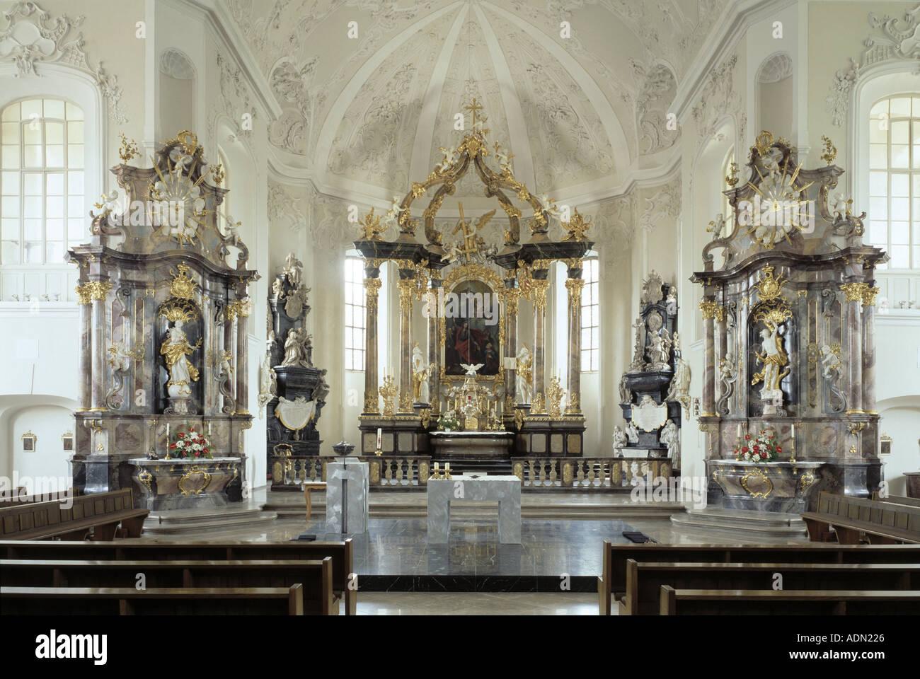 Bruchsal, Pfarrkirche St. Peter, Blick nach Osten Stock Photo ...
