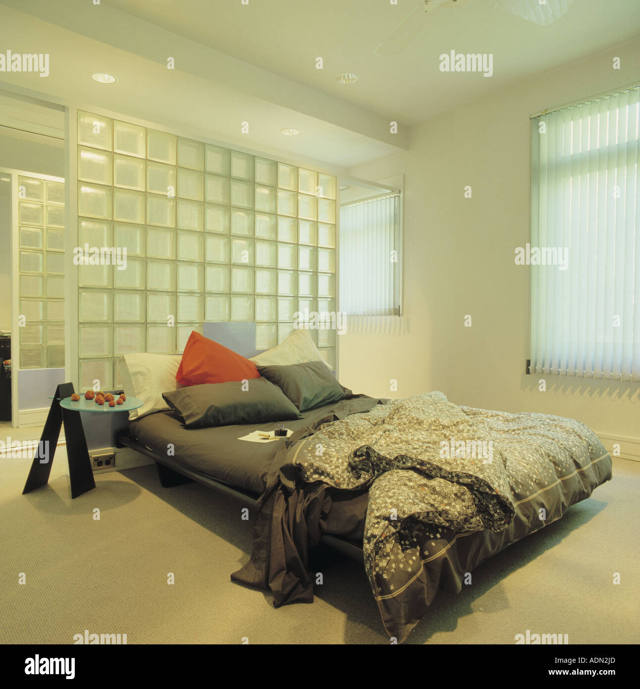 Bedroom With Glass Wall Partition Stock Photo Alamy