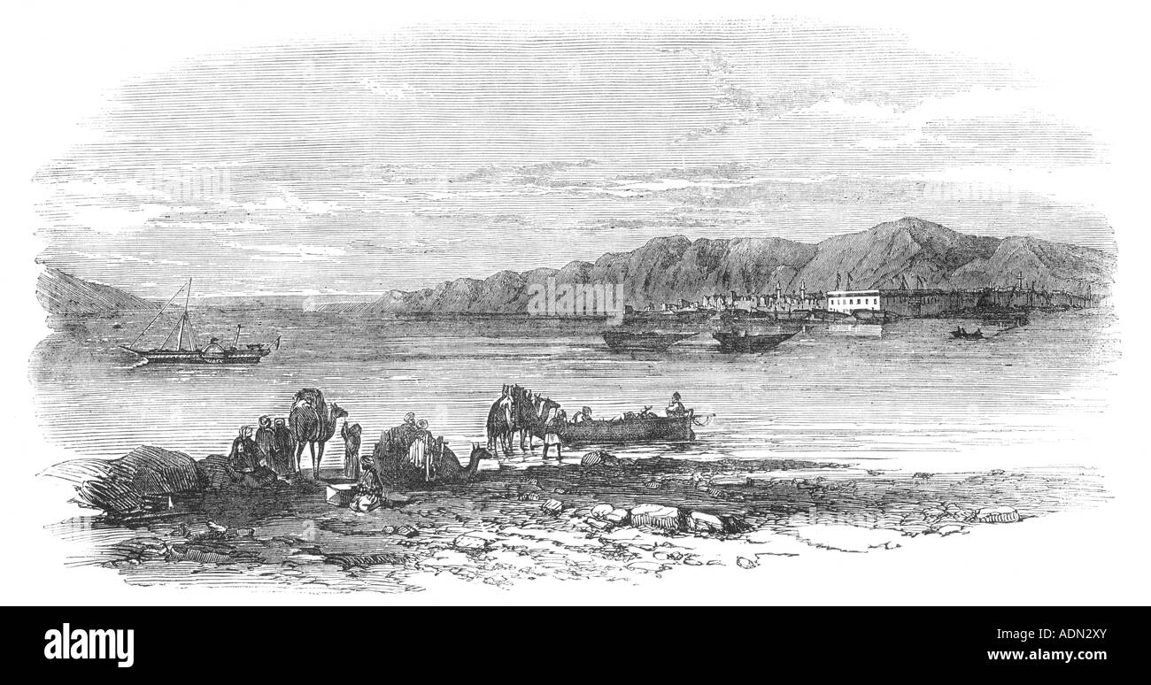 View of Suez from the Coast of Asia, 19th Century Engraving - Stock Image