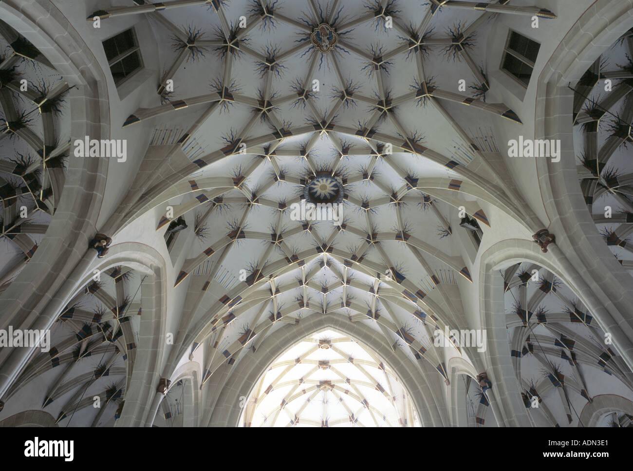 Marbach, Alexanderkirche, Gewölbe im Mittelschiff - Stock Image