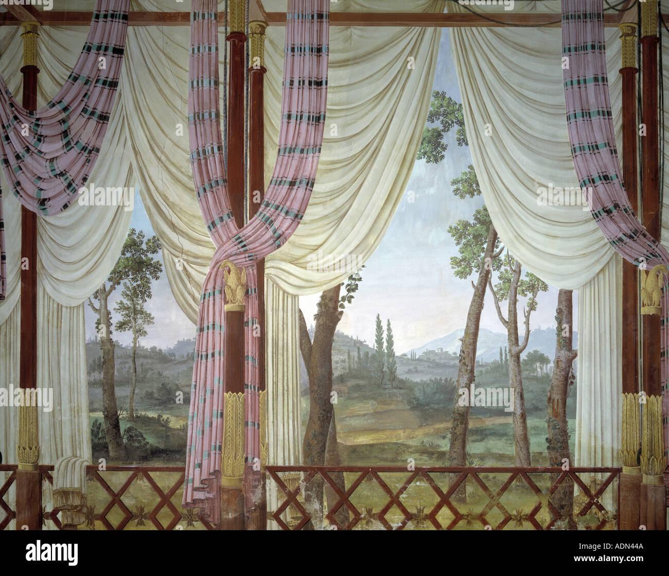 Illasi, Villa Pompei Carlotti, Fresken aus dem 18. Jahrhundert, gemalt von Tommaso Porta 1765 - Stock Image