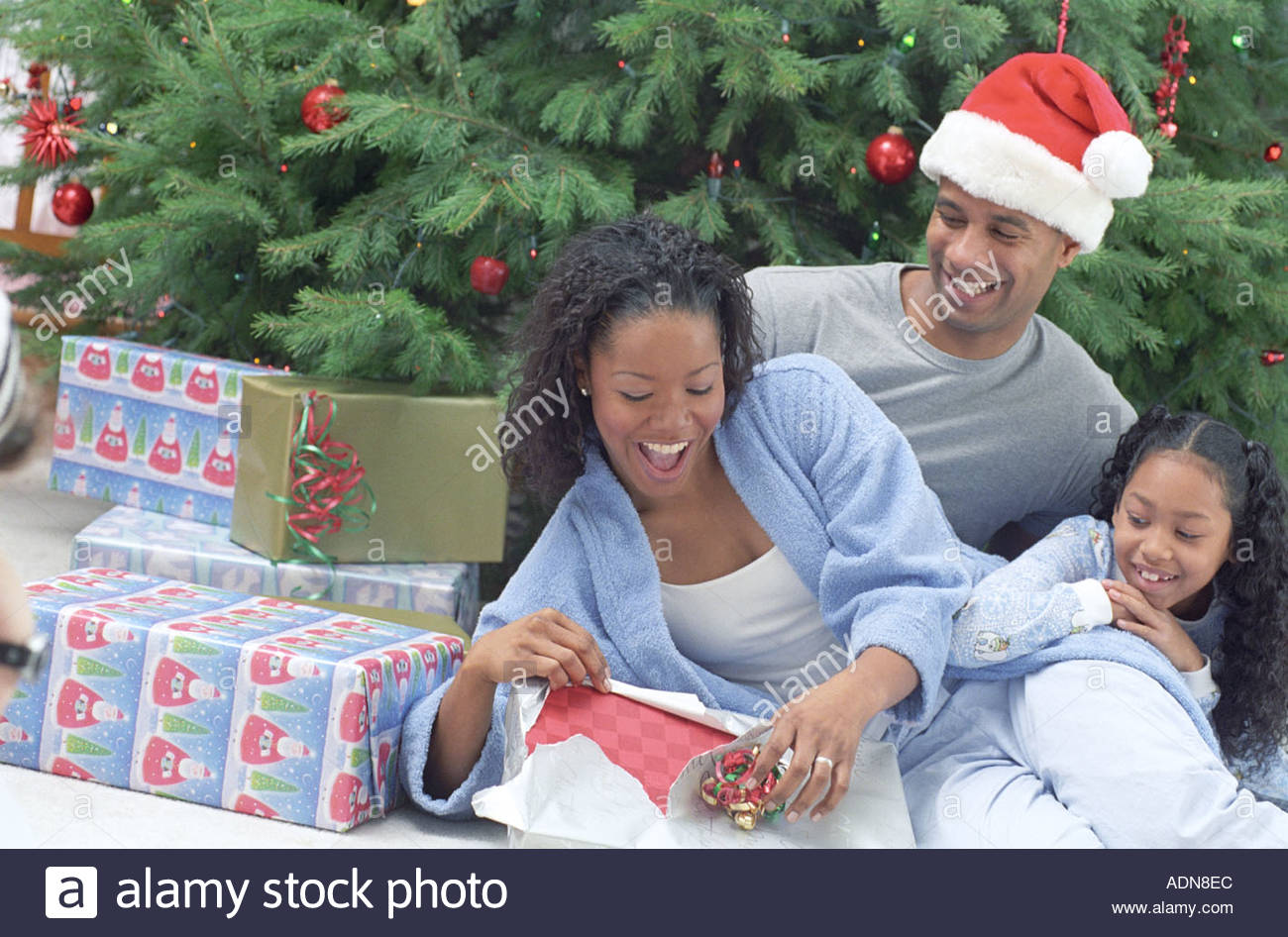 Family Christmas Morning - Stock Image
