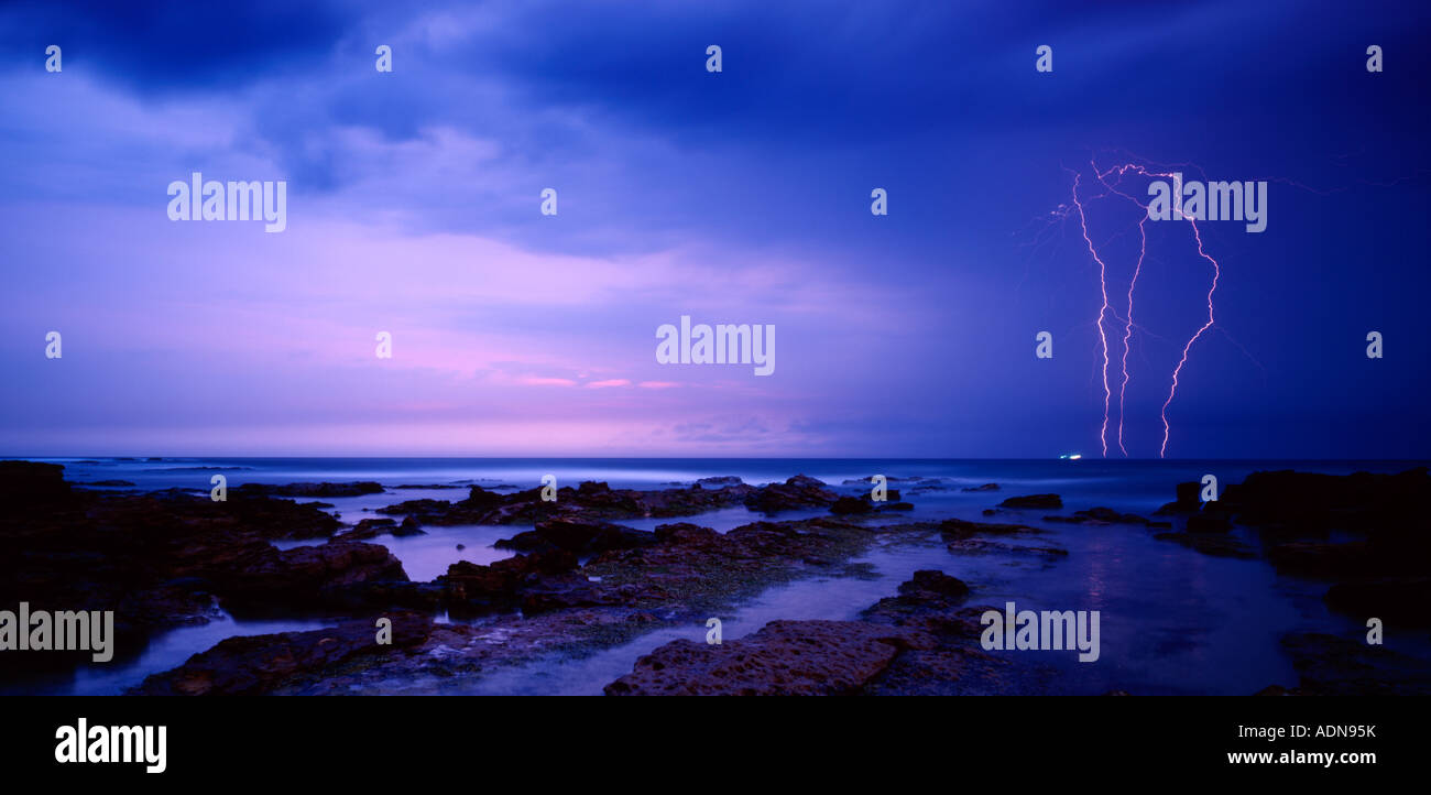 Lightning Strikes at Dawn, Bulli NSW Australia Stock Photo