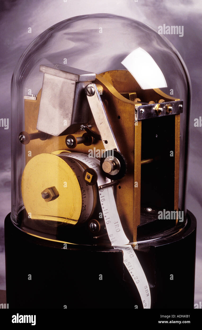 Close up ticker tape machine - Stock Image