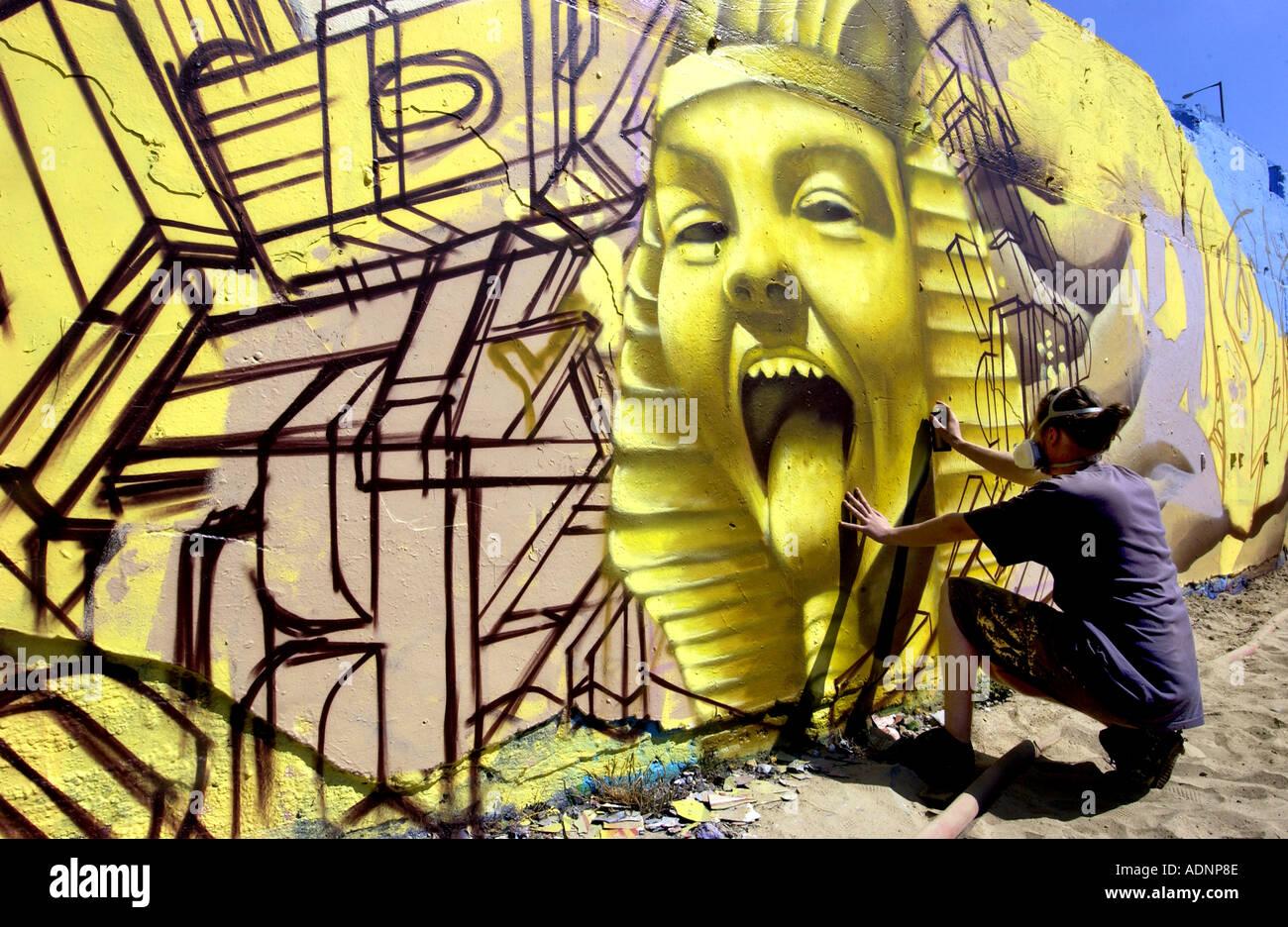 urban street art meets the ancient egyptians as graffiti artist creates a pharoah - Stock Image