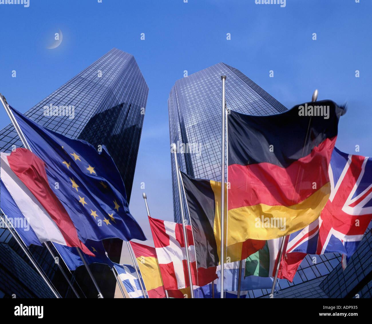 DE - HESSEN: The Flags of Europe below the Deutsche Bank in Frankfurt - Stock Image