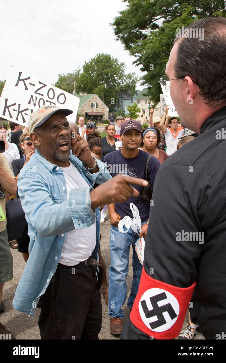 Argument Between Nazi Supporter and Opponent - Stock Image
