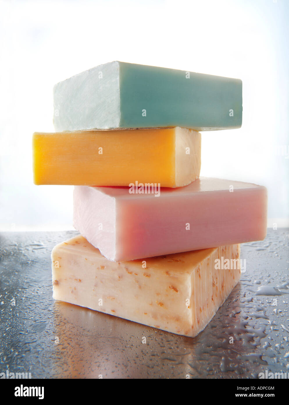 4 bars of scented hand made soaps. Bathroom Toiletries - Stock Image