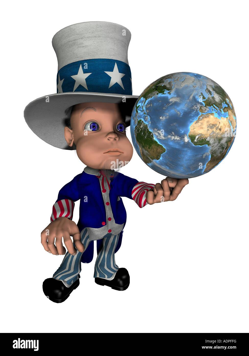 National Figure Uncle Sam Balances The Globe On The Finger As Symbol
