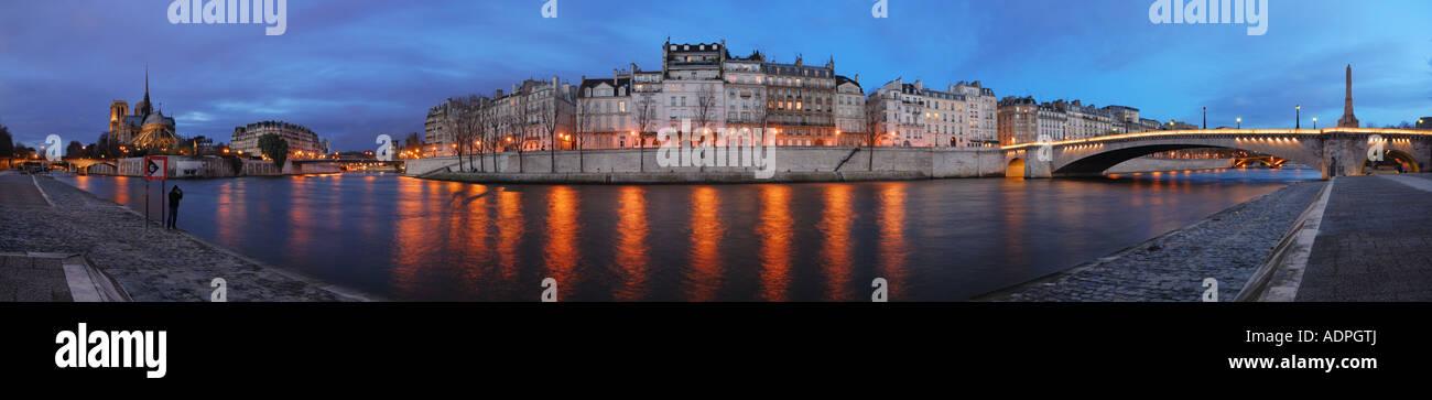 Saint-Louis Island at the blue Hour panorama, Paris, France - Stock Image