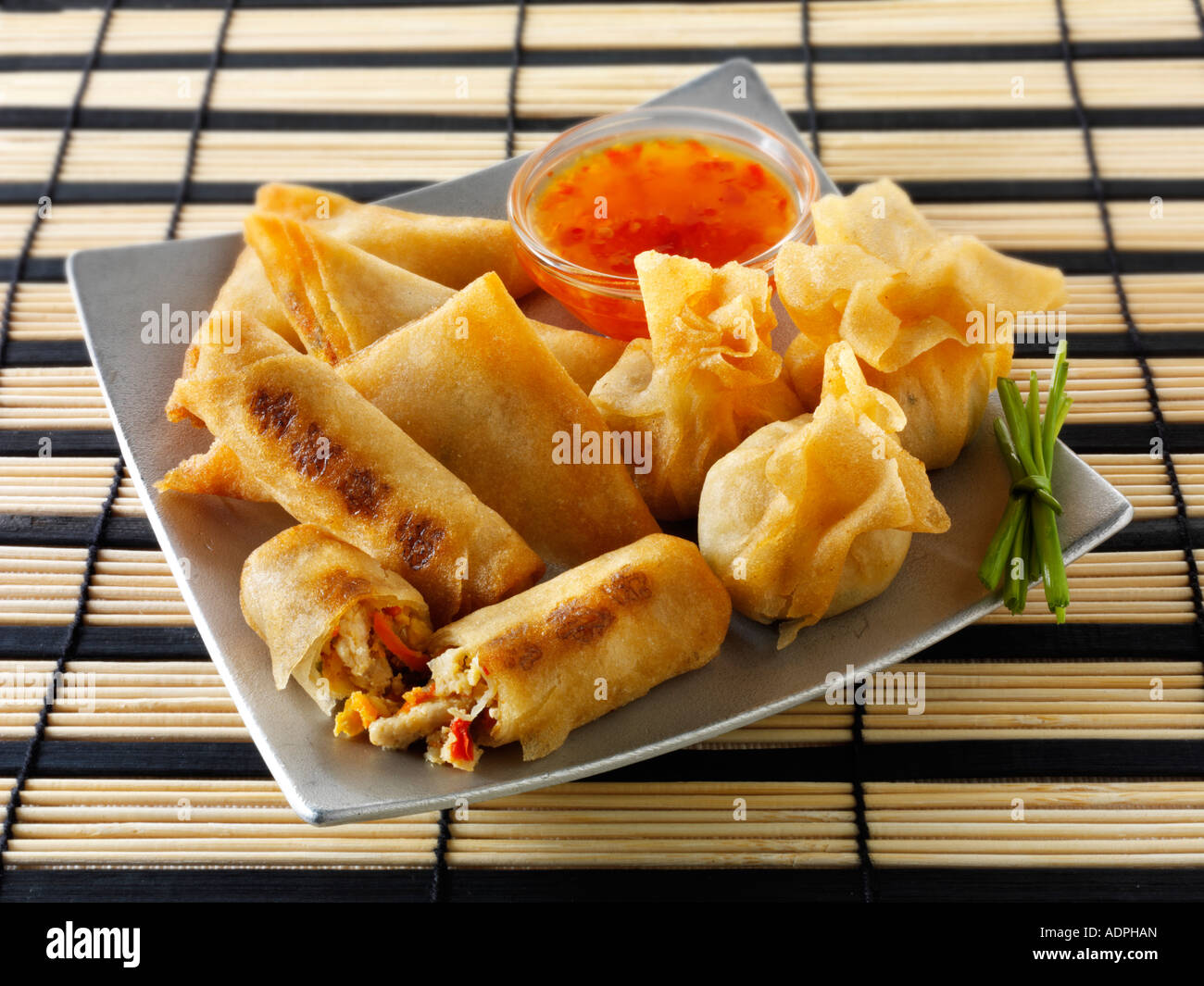 Oriental selection with dim sum spring rolls with chicken vegetables and vegetable samosas with a chilli dipping - Stock Image