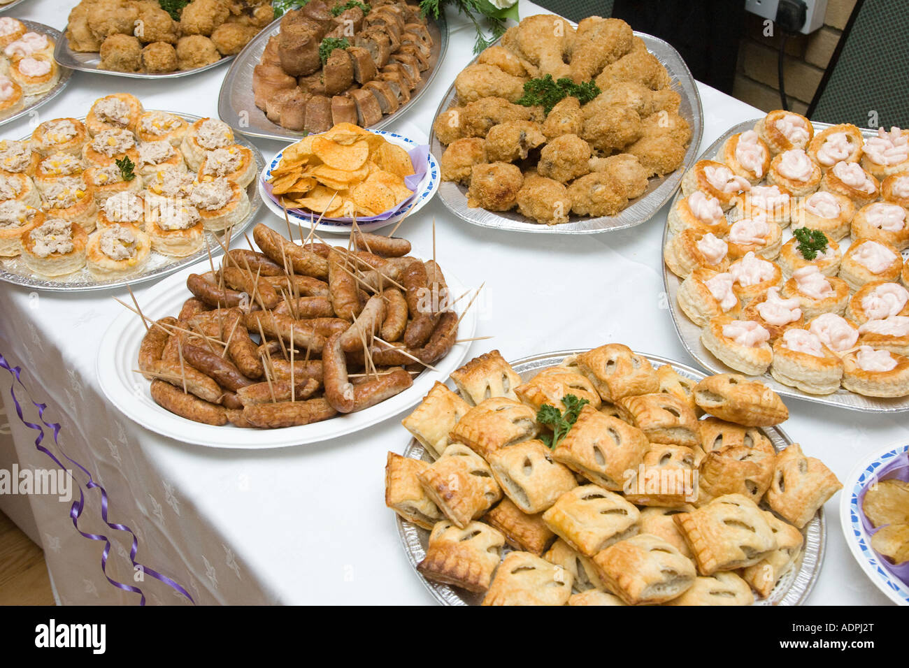 Food buffet table at a wedding reception in the uk stock for Table snack cuisine
