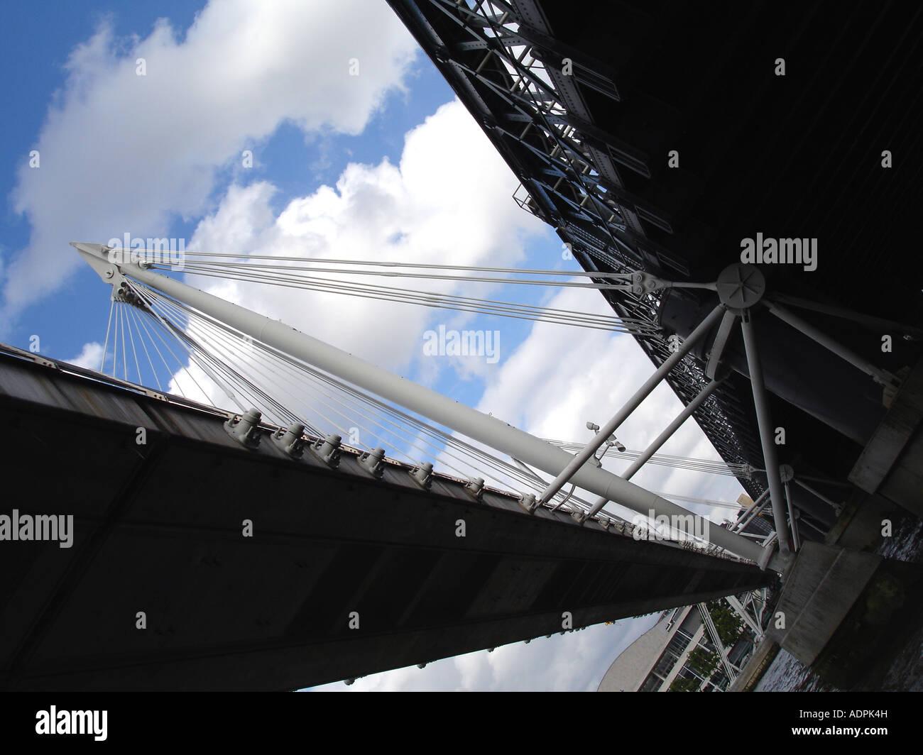 Hungerford pedestrian bridge London, England Stock Photo