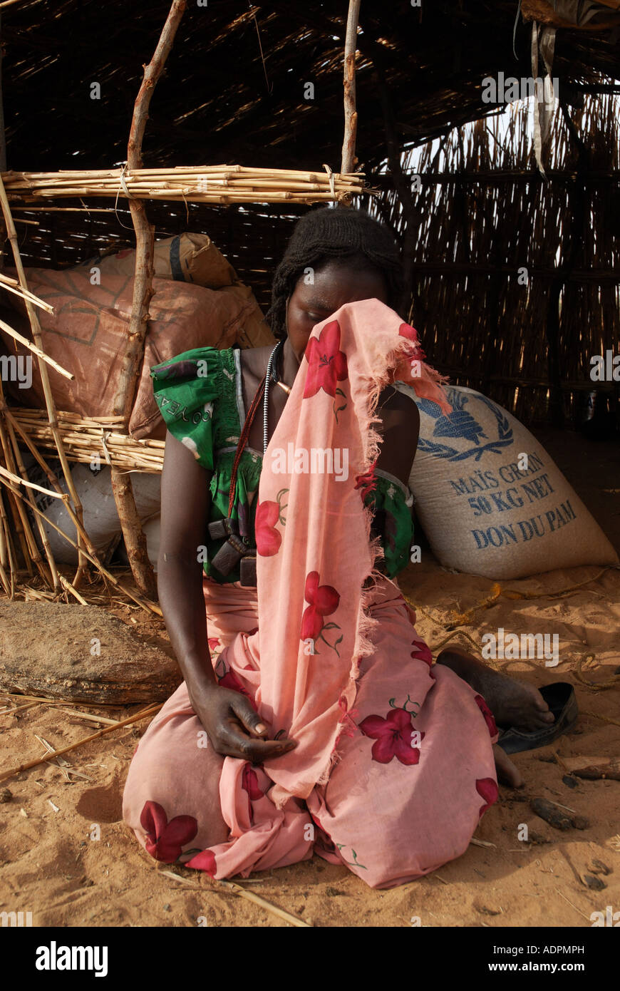 Africa.Chad.Goz Bagar camp for displaced .Widow Mariam Issak Adam aged 30 mother of 4 - Stock Image